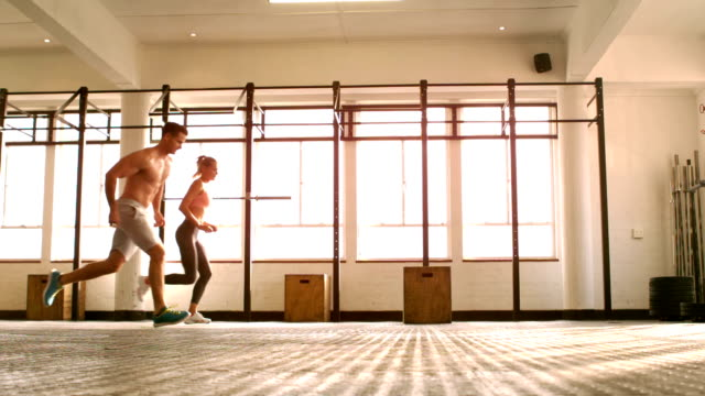 Fit people training in gym gym video