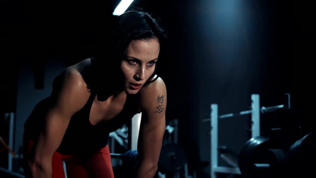 Fit strong young tired of exercise woman video