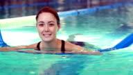 Fit woman doing aqua aerobics in the pool video