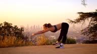 Fit Woman Jogging Los Angeles Slow-Motion video