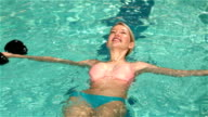 Fit woman relaxing in the pool video