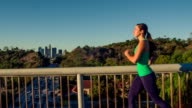 Fit Woman Running Los Angeles Slow-Motion video