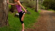 Fit woman stretching in the countryside video
