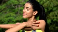 Fit Young Woman Stretching Or Yoga video
