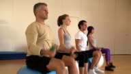 Fitness exercises at gym video
