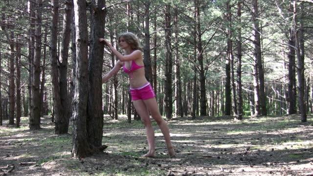 Fitness girl in park video