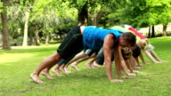 Fitness group doing yoga in park video