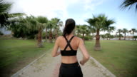 Fitness jogger running at tropical park fitness jogging workout video