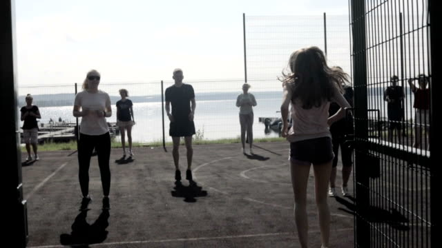 fitness sport people, exercising, warm-up concept video