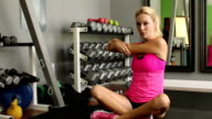 Fitness Woman Stretches Arms Track Right video