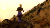 Fitness Workout Outdoors. Healthy Young Woman Athlete Exercising Outside in Nature. Successful Young Woman at Sunset. video