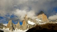 Fitz Roy mountain in sunrise lights. Los Glaciares National Park, Patagonia, Argentina. Time lapse video