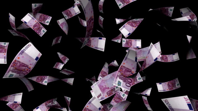 Five Hundreds Euros Bills Falling with Alpha Channel video
