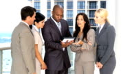 Five Multi Ethnic Business People with Wireless Tablet video