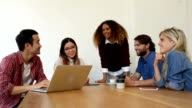 Five Multi Ethnic Young Business People in Meeting at Cafe. video