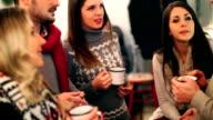 Five people having tea at cabin coffee shop. video