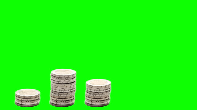Five stacks of coins increasing. Stop Motion. Chroma Key. video