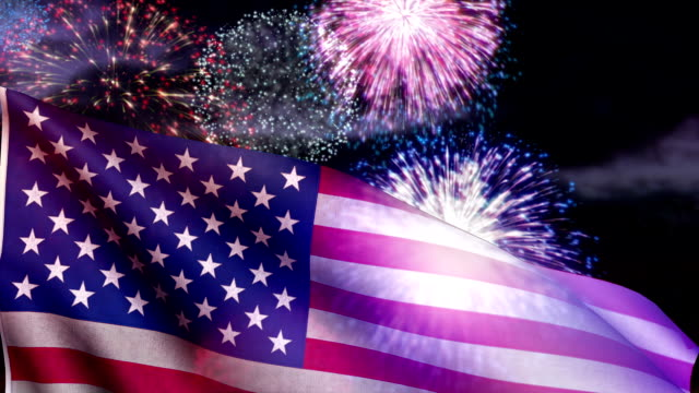 USA flag and fireworks. Loopable. Fourth of July. video