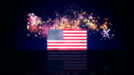 USA flag and fireworks on background loop video