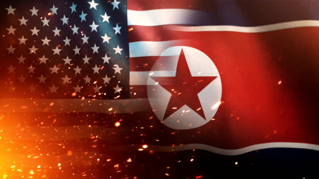 US Flag And North Korean Flag - Crisis / Conflict (Loop) video