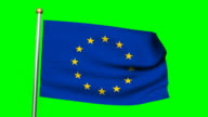 3D EU flag animation on the green screen HD video