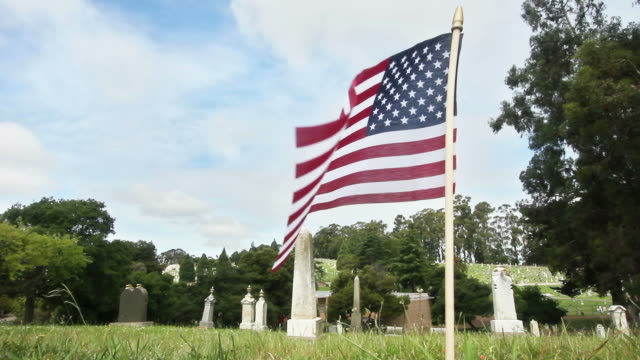 USA Flag at Cemetery (HD) video