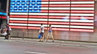 US flag background Times Square New York video