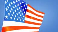 USA flag blue sky video