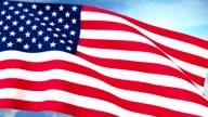 USA US Flag Closeup Waving Against Blue Sky Seamless Loop CG video