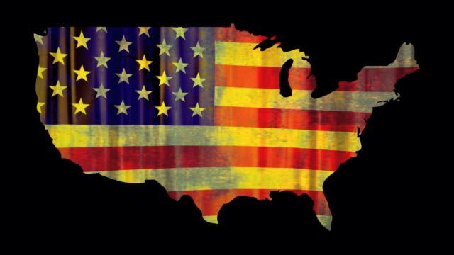 US flag four grunge video