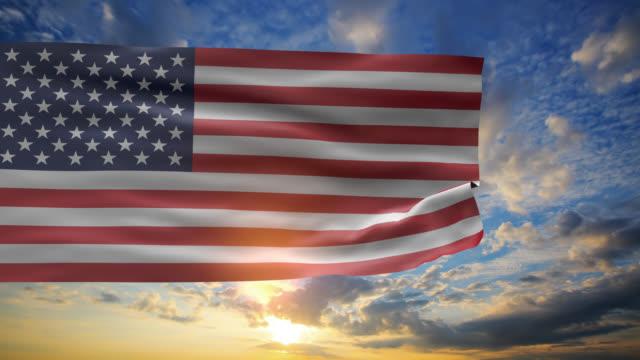 USA FLag in sunrise sky video