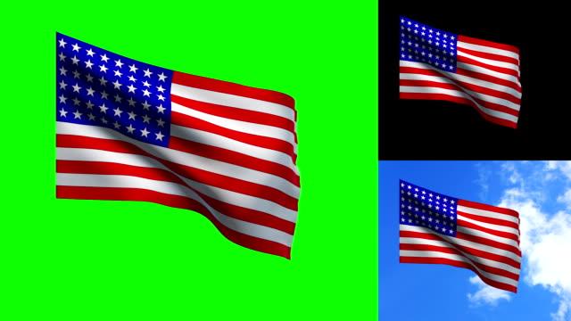 USA flag - keyable video