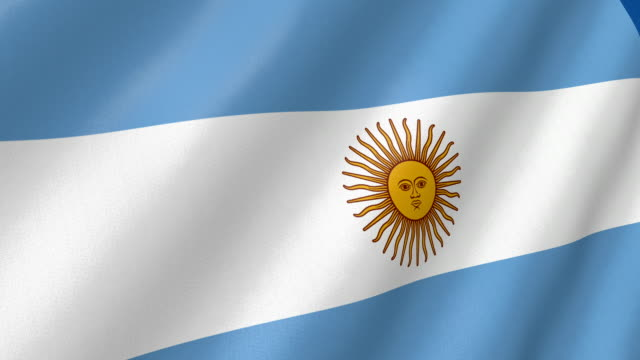 flag of Argentina waving. 3d render seamless loop video