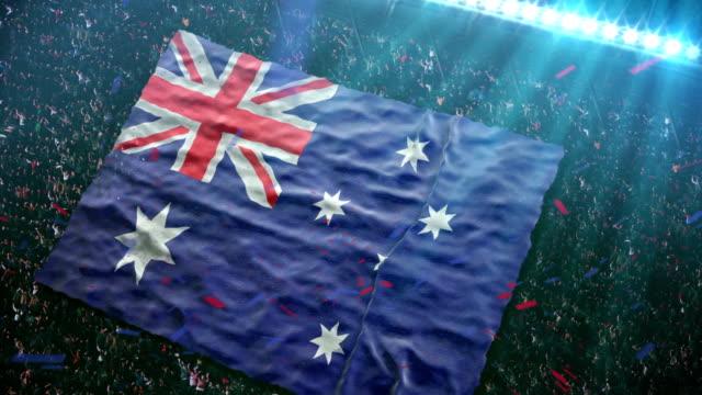 Flag of Australia at the stadium video