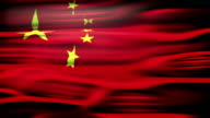 Flag of China. An animated Chinese Flag close up waving with light and flares. video
