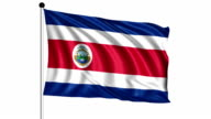 flag of Costa Rica - loop (+ alpha channel) video