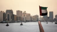 Flag of Dubai, United Arab Emirates (UAE) on boat video