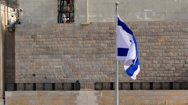 Flag of Israel is waving and flying on the wind video