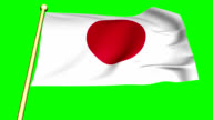 Flag of  Japan  animated on green screen video