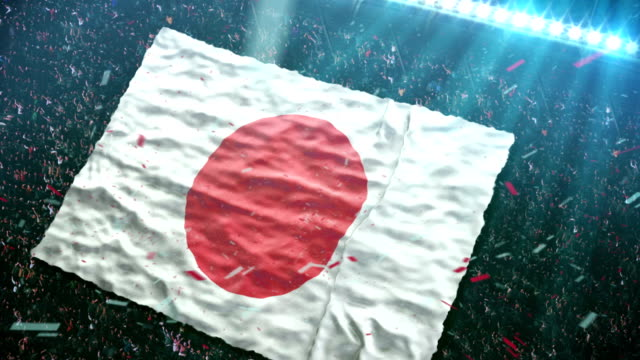 Flag of Japan at the stadium video