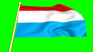 Flag of Luxembourg   animated on green screen video