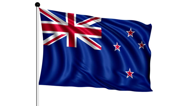 flag of New Zealand - loop (+ alpha channel) video