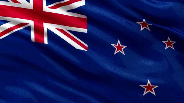 Flag of New Zealand seamless loop video