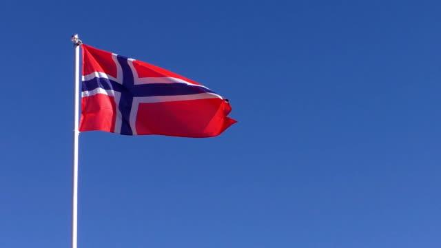 Flag of Norway against blue sky video