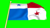 Flag of Panama  animated with green screen video