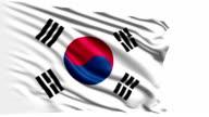 Flag of South Korea (loop) video
