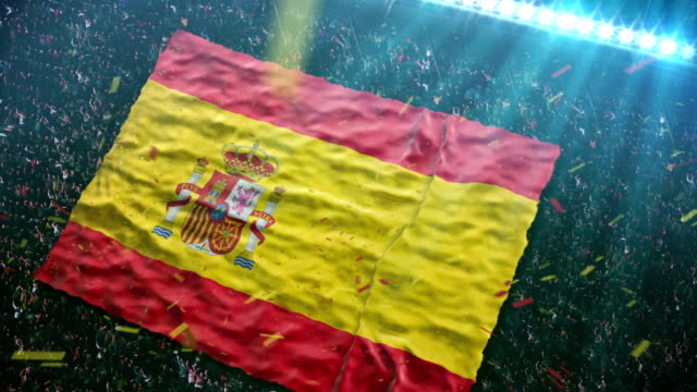 Flag of Spain at the stadium video
