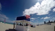 US flag on a watchtower on the beach video