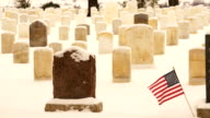 Flag Waves Wind Custer Battlefield Cemetery Tombstones video