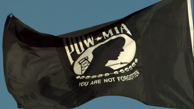 POW/MIA Flag Waving in Slow Motion video